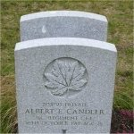 """Grave Marker– Grave of 2138793 Pvt. Albert Edward Candler who served with the 7th Battn. C.E.F.  Born in the town of Maidstone of Kent England on April 9th 1892.  Husband of Jean R. Candler of West Vancouver BC.  Albert enlisted into the 2nd Depot Battn. at Victoria BC on Jan. 28th 1918 he listed his occupation as """"Ships Steward""""  Albert died Oct. 16th 1918 at the age of 26 of the Spanish Flu during the great panademic of 1918-19.  He was laid to rest in the Mountain View Cemetery of Vancouver BC."""