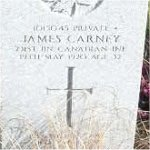 """Grave marker– Grave of 1015045 Pvt. James Carney who served with the 231st Battn. C.E.F. Born in Scotland on Jan. 25th 1888 he enlisted into the C.E.F. at Vancouver BC on March 24th 1916 listing his occupation as """"Stone cutter""""  James died on May 19th 1920 at the age of 32.  He was laid to rest in the Mountain View Cemetery in Vancouver BC."""