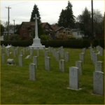 Cemetery– Cemetery view of the section where 865958 Company Sgt. Major Ernest Clausin Chappel  M.M.  who served with the 44th Battn. C.E.F. was laid to rest in the Mountain View cemetery of Vancouver BC