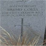 """Grave marker– Grave of 2024550 Pvt. Bruno Costa who served with the 11th Garrison Regt. C.E.F.  Born in the town of Jioracarne in Catanzara Italy on July 29th 1886. Bruno was drafted into the C.E.F. at Vancouver BC on June 22nd 1918 listing his occupation as """"Miner""""  He died during the Spanish Flu panademic of 1918-19 on Oct. 15th 1918 at the age of 33.  He was laid to rest in the Mountain View cemetery of Vancouver BC."""