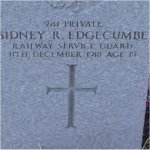 """Grave Marker– Grave of 941 Pvt. Sidney R. Edgecumbe who served with the Canadian Railway Service Guards C.E.F. Born in Denver Colorado U.S.A. on March 1st 1899.  Sidney enlisted into the C.E.F. at Vancouver BC on May 15th 1918 listing his occupation as """"Railway worker""""  He died Dec. 11th 1918 at the age of 19 during the Spanish Flu panademic of 1918-19.  He was laid to rest in the Mountain View cemetery of Vancouver BC."""