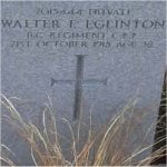 Grave marker– Grave of 2015444 Pvt. Walter Edmond Eglinton who served with the 1st Depot Battn. British Columbia C.E.F.