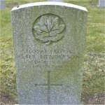 """Grave Marker– Grave of 703543 Pvt. Peter Henderson who served with the 67th Battn. C.E.F. Born in Glasgow Scotland on Sept. 18th 1871. Husband to Joan Henderson of Vancouver BC.  Peter enlisted into the C.E.F. at Vancouver BC on Feb. 8th 1916 listing his occupation as """"Engneer""""  Peter died at Vancouver Bc on Aug. 19th 1917 at the age of 45.  He was laid to rest in the Mountain View cemetery of Vancouver BC"""