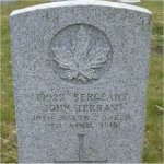 """Grave Marker– Grave of 19922 Sgt. John Terras who served with the 10th Battn. C.E.F. Born at Markinch Fife Scotland on June 21st 1976.  John enlisted into the C.E.F. on Oct. 18th 1914 in Alberta he listed his occupation as """"Clerk"""" he also listed prior military service with the Kimberly Light Horse (South Africa) and with the Cape Mounted Police SA.  John died at Vancouver BC on April 9th 1918 at the age of 41 and was laid to rest in the Mountain View cemetery of Vancouver BC."""