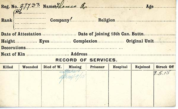 Service Record– Record of Service Card (front side).  Courtesy 48th Highlanders of Canada Regimental Museum.  Submitted by 15th bn Memorial Project.  DILEAS GU BRATH