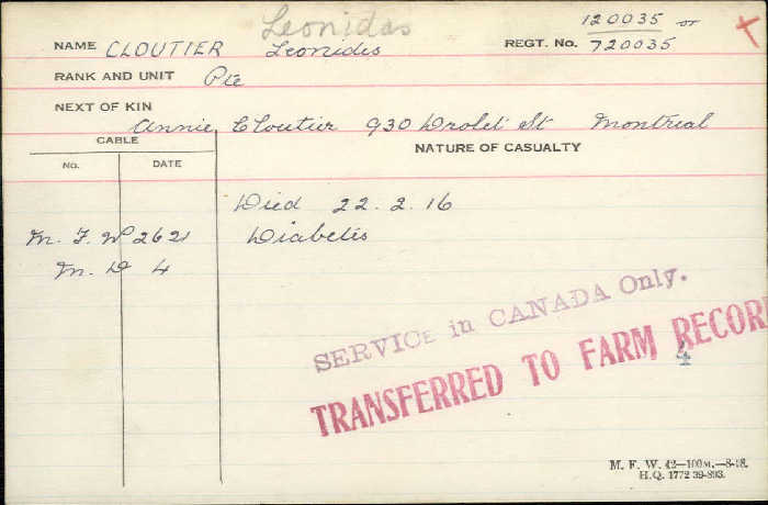 Circumstances of Death Registers– Private Leonidas Cloutier  - Canadian Infantry, Canadian Expeditionary Force 69th Bn. Died of diabetes. http://www.collectionscanada.gc.ca/microform-digitization/006003-119.01-e.php?q2=36&q3=2857&sqn=150&tt=1318&PHPSESSID=2jikgad8ajqb1hs81aui31c0g6