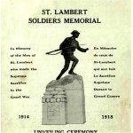 Programme – Programme original distribué le 9 juillet 1922 lors du dévoilement du monument de guerre de la PGM à St-Lambert au Québec.