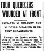 Newspaper Clipping– Quebec Chronicle - June 12, 1916