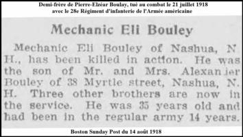 Newspaper clipping– Death notification of his step-brother Éli who was killed in action while serving with the American Army, only two months after Pierre was severely wounded to the head.