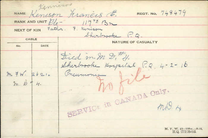 Death Certificate– Kennison died in Sherbrooke Hospital of pneumonia http://www.collectionscanada.gc.ca/microform-digitization/006003-119.01-e.php?q2=36&q3=2888&sqn=478&tt=1177&PHPSESSID=l3e9g3ae4sbh3abk179tqs7ht5