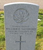Grave Marker– Headstone of Private William E. Sandford in Old Greenwood Cemetery, Sault Ste. Marie, Ontario. Photo provided by Padre Phil Miller, RCL, Branch 25, Sault Ste. Marie, Ontario. We Will Remember Them.