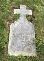 Grave marker– James Joseph Roussain gravestone, Holy Sepulchre cemetery, Sault Ste. Marie, Ontario