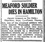 Newspaper Clipping– From the Toronto Globe for 8 September 1917.