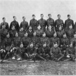 """Group Photo– Officers of the 48th Highlanders from """"The Red Watch - With the First Canadian Division in Flanders"""" written by Colonel J.A. Currie, M.P.  Published in Toronto in 1916 and dedicated to the memory of the Canadian soldiers who fell in Flanders.  In this group portrait he is in the second standing row from the top - fifth man across from the left."""