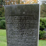 "Grave Marker– Marker at the grave of Cadet Hamar in the Mount Osborne Cemetery, William Street, Beamsville, Ontario.  The inscription reads: ""CADET CLARENCE RICHARD HAMAR HILLCREST, KNIGHTON, RADNORSHIRE, WALES. KILLED JUNE 4, 1918 ON ACTIVE SERVICE ROYAL AIR FORCE.""  Cadet Hamar was killed in a flying accident.  (Image taken by Gregory J. Barker of Barrie, Ontario, in 2012.)"