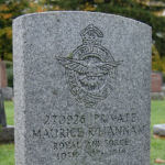 """Grave Marker– Headstone at Private Hannam's grave in the Mount Osborne Cemetery, William Street, Beamsville, Ontario.  A personal inscription near the bottom of the stone reads: """"UNTIL THE SHADOWS FLEE"""".  Private Hannam died of pneumonia.  (Image taken by Gregory J. Barker of Barrie, Ontario, in 2012.)"""