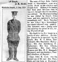 Newspaper clipping– Muskoka Herald 21-Sep-1916, 1 of 2