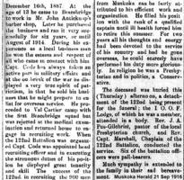 Newspaper clipping– Muskoka Herald 21-Sep-1916, 2 of 2