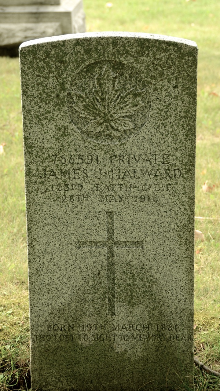 Grave Marker– 766591 Private James J. Halward 123rd Batt'n C.E.F. 28th May, 1916 Born 19th March 1881 Tho Lost to Sight, to Memory Dear