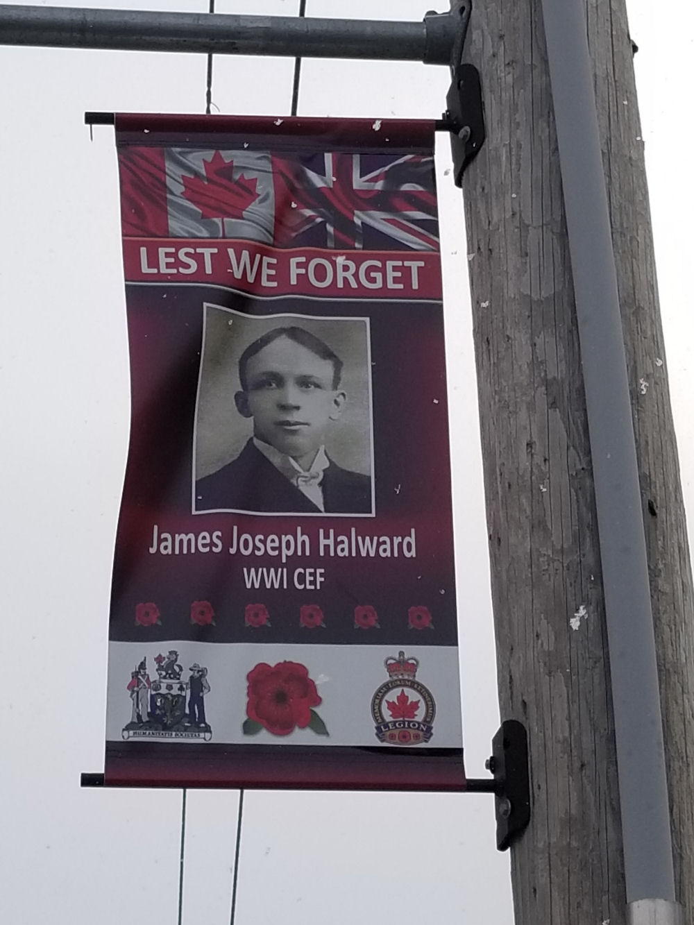 Memorial– Remembrance Day banner honouring his service in his hometown of Cannington, ON