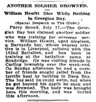 Newspaper clipping– Article from The Globe (Toronto, Ontario) 18 Jul 1916, p. 2.