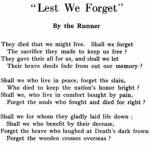 Poem - Lest We Forget– Another poem written by Private Benjamin McCormack for the Trinity War Book, using the pen name, The Runner.