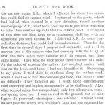 The Runner  p.2– This short story was written by Private Benjamin McCormack for the Trinity War Book using the pen name, The Runner. The story appears to reflect his personal wartime experiences.