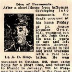 "Newspaper Clipping– Pte. Gray signed his attestation as ""Angus Douglas Gray""."