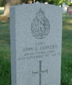 Grave Marker– At the foot of Cadet Ludford's grave, in St. Mary's Catholic Cemetery, Barrie, Ontario, is a standard Commonwealth War Graves Commission marker. (Image taken by Gregory J. Barker of Barrie in 2012. This image may be copied and used without further permission.)