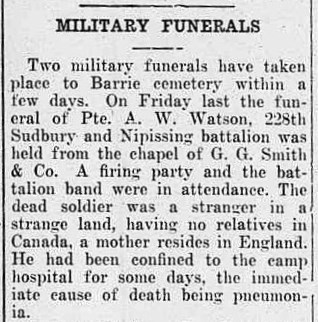 "Newspaper Clipping– This is an excerpt from an article (""Military Funerals"") that appeared in the Northern Advance newspaper (Barrie, Ontario), at page 8, on September 21, 1916."