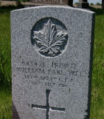 Grave Marker– Private W.E. Hill's grave marker in the Bethesda Cemetery, on the 5th Sideroad (just south of the 4th Line), Bethesda, Town of Innisfil, north-east of Cookstown, Ontario.  Private Hill died of pneumonia at Camp Borden, Ontario, while serving in the 157th Battalion (Simcoe Foresters).  (Image taken by Gregory J. Barker of Barrie, Ontario, in 2013.)