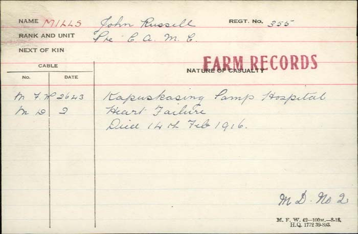 Death Certificate– Private John Russell Mills -  Canadian Army Medical Corps. Died at the Kapuskasing Camp hospital of heart failure. 