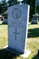 Grave marker– Marker at the grave of Private George Gore, 177th Battalion (Simcoe Foresters), in the Elmvale Presbyterian Cemetery, 94 Queen Street East, Elmvale, Ontario.  Pte Gore died of sickness.  (Image taken by Gregory J. Barker of Barrie, Ontario, in 2018.)