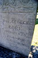 """Grave marker– Detail of the private monument at Pte George Gore's grave in the Elmvale Presbyterian Cemetery, Elmvale, Ontario.  The inscription indicates that he was a member of A Company, 177th Battalion.  A message reads, """"HE DIED FOR HIS COUNTRY.""""  (Image taken by Gregory J. Barker of Barrie, Ontario, in 2018.)"""