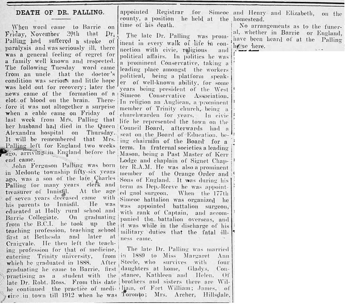 Newspaper Clipping– This article appeared in the Northern Advance newspaper (Barrie, Ontario), at page 5, on February 7,1918.