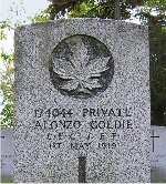 """Gravemarker– The words """"REST IN PEACE"""" are inscribed at the base of this grave marker."""