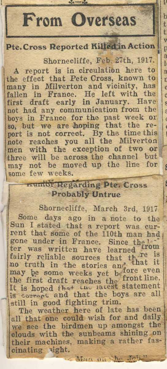 Newspaper Clipping– Scrapbook clipping saved by Mrs Margaret Ranney of Milverton, Ontario. Provided by Padre Phil Miller, RCL, Branch 25, Sault Ste Marie, ON. We Will Remember Them.