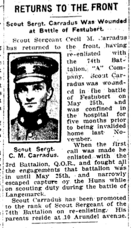 Photo of MAURICE CECIL CARRADUS– From the Toronto Star. Submitted for the project, Operation: Picture Me