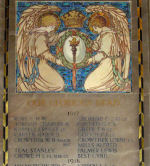 Inscription– World War One memorial tablet, St. Paul's (Anglican), Bloor St. East, Toronto, Ontario.  One of two memorial tablets set within a spectacular carved alabaster chancel screen.  Erected in memory of the men of St. Paul's who died during the first World War and unveiled in March 1926.   Each alabaster tablet incorporates mosaic work depicting kneeling angels holding a laurel wreath and a torch.  Seventy-six names in total were listed by date of death.   Inscribed:  'IN CHRIST SHALL ALL BE MADE ALIVE', and from The Very Reverend Cyril Alington:   'And us they trusted. We the task inherit / The unfinished task for which their lives were spent / But leaving us a portion of their spirit / They gave their witness and they died content.'