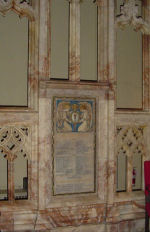 """World War I memorial tablet– World War One memorial tablet set in the chancel screen at St. Paul's (Anglican),  Toronto, Ontario.  The screen is in three sections, with the two outside sections displaying the tablets.  The chancel screen includes statues of twelve historic figures including Admiral Earl Beatty, King George V, Earl Kitchener, Marshal Foch, Earl Haig, and Lord Byng of Vimy.  The screen was the work of Messrs. J. Wippell & Co., of Exeter, England.  The great chancel war memorial windows are located above. These are inscribed:   """"To the Greater Glory of God and in Everlasting Remembrance of the Men of St. Paul's Parish who gave their lives in Defence of Justice, Liberty and Truth, A.D. 1914-1919.""""  They were unveiled in 1921 by the Governor-General of Canada, Baron Byng of Vimy.  Another World War One memorial window in honour of the men named on the tablets is located on the east wall of the Nave.  The panels include fragments of glass from 70 buildings in the war zones.  It was unveiled by Baron Byng of Vimy in 1922.  Both windows were manufactured by Robert McCausland Ltd. of Toronto"""