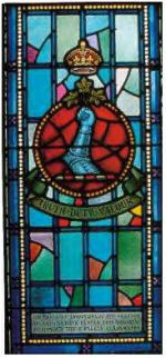 Stained Glass Memorial– Ex-cadets are named on the Memorial Arch at the Royal Military College of Canada in Kingston, Ontario and in memorial stained glass windows to fallen comrades.  676 Captain Robert Clifford Darling (RMC 1904-1907) was the son of Mrs. Annie M. Darling, of  Toronto, Ontario. He studied at Upper Canada College and the Royal Military College of Canada. He was the proprietor of Robert Darling & Co of Toronto. He was the husband of Phyllis A. Darling of Toronto, Ontario. He enlisted on August 4, 1914. He served as Adjutant, 48th Highlanders Canadian Infantry (Central Ontario Regiment), 15th Bn, 3rd brigade. He served in France in February 11, 1915. He was wounded in action on the 23rd of March near Neuve Chapelle France. He died in London, England on April 19, 1915 at 26 years of age. He was buried in Sec. V. Lot 89 of the Toronto Mount Pleasant Cemetery with military honours. He is commemorated on the Memorial Tablet at Upper Canada College, the Memorial Arch at the Royal Military College of Canada and on page 11 of the First World War Book of Remembrance.
