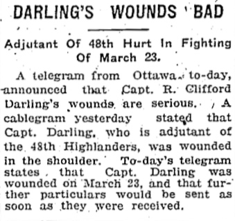 Press Clipping– Funeral Capt Darling.  From scrapbook of Lt Col William Hendrie in Hamilton city Archives  Submitted by the 15th Bn Memorial  Project Team.  DILEAS GU BRATH