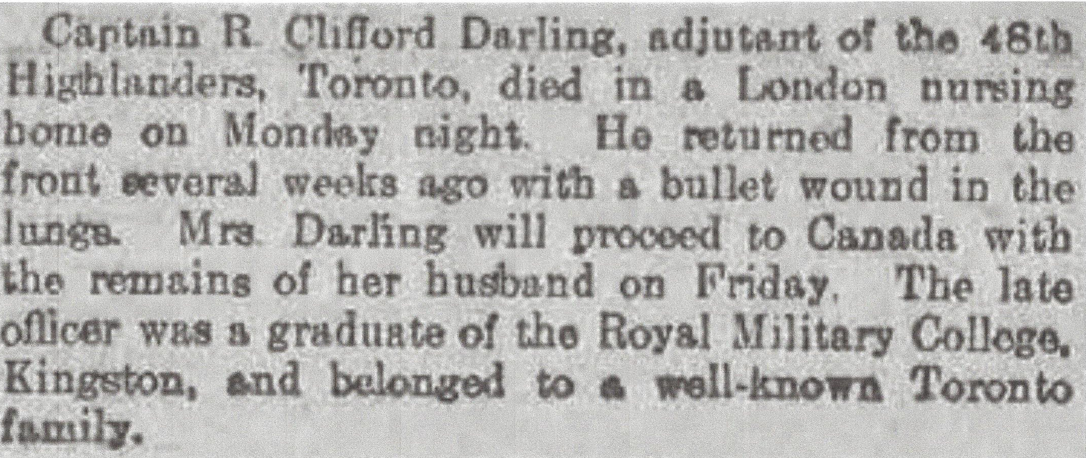 Newspaper Clipping– Newspaper clipping from Daily Telegraph of April 21, 1915. Image taken from web address of http://www.telegraph.co.uk/news/ww1-archive/11545927/Daily-Telegraph-April-21-1915.html