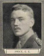 Photo of Evan Edward Price– From The War Book of Upper Canada College, edited by Archibald Hope Young, Toronto, 1923.  This book is a Roll of Honour including former students who served during the First World War.