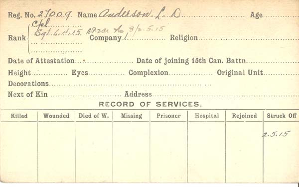 Record of Service– Record of Service Card (front side).  This card represents time period Capt Anderson served as an OR in the 15th Bn.  Following this period of service he commissioned with the 92nd Bn and was then transferred back to the 15th Bn. Submitted by 15th Bn Memorial Project Team.  DILEAS GU BRATH.