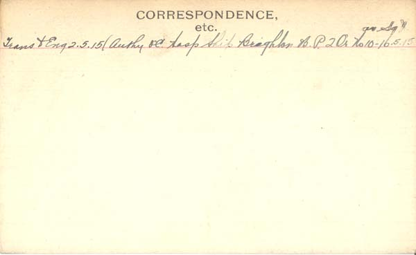 Record of Service– Record of Service Card (reverse side).  This card represents time period Capt Anderson served as an OR in the 15th Bn.  Following this period of service he commissioned with the 92nd Bn and was then transferred back to the 15th Bn. Submitted by 15th Bn Memorial Project Team.  DILEAS GU BRATH.