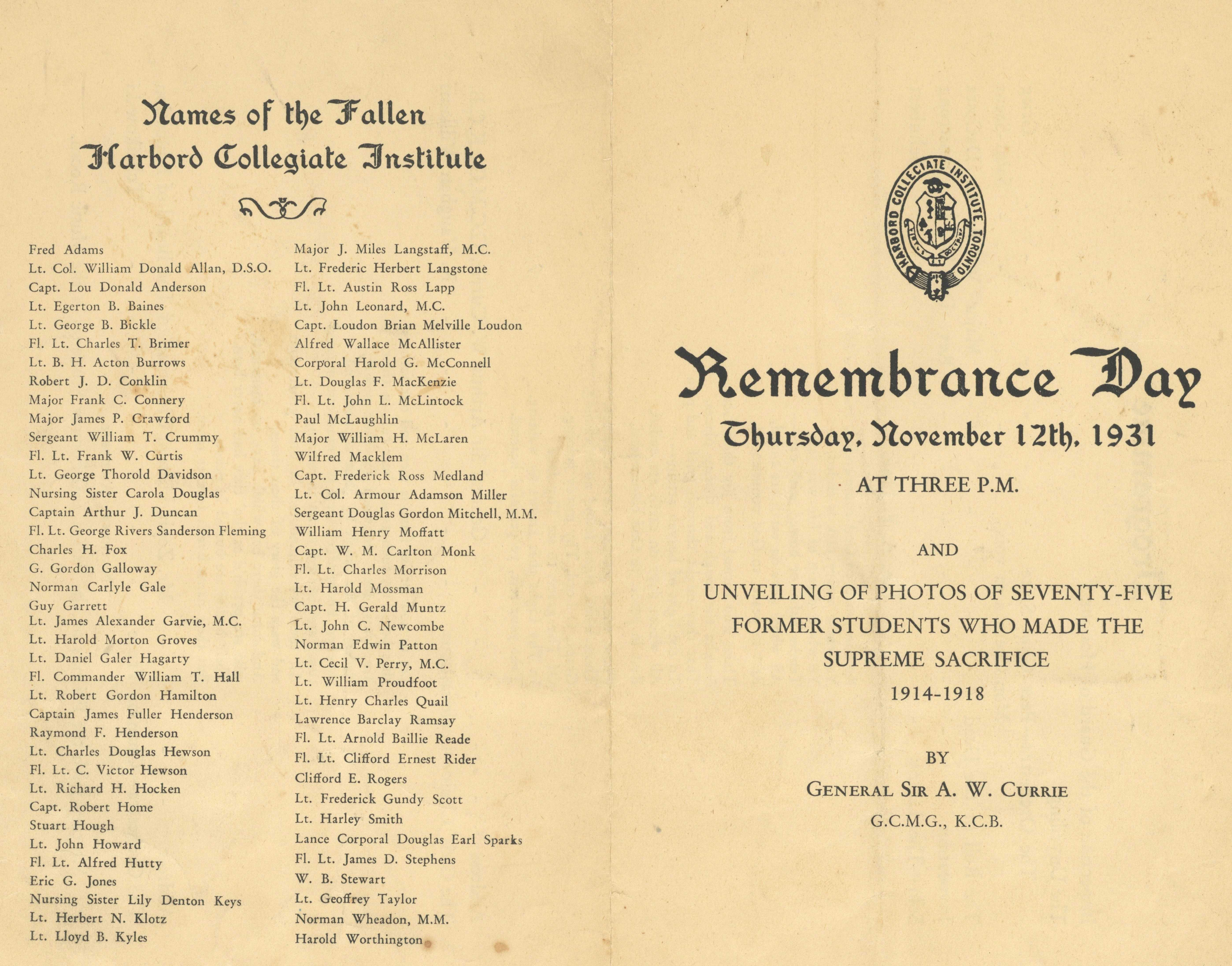 Newspaper clipping– Harbord Collegiate Institute  program for Remembrance Day 1931. Listing the names of the school's Fallen. Submitted by BGen (ret) G Young, 15th Battalion CEF Memorial Project. Dileas Gu Brath