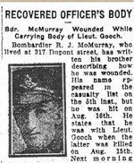 Newspaper Clipping– Lt. Henry Charles Chedzey was wounded at Hill 70 when retrieving the body of Lt. Frederick John Gooch the day after the attack of August 15th, 1917.