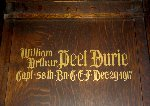 Memorial– A detail of the memorial panel dedicated to Captain William Arthur Peel Durie.  Located in the St. Thomas Church Baptistry, Toronto, Ontario.
