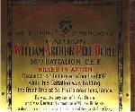 Plaque– Memorial plaque dedicated to Captain William Arthur Peel Durie.  St. Thomas Church, Toronto, Ontario.